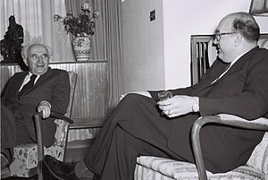 Leonard W. Hall - Leonard W. Hall (right) with Israel's Prime Minister David Ben-Gurion in Jerusalem, 1951