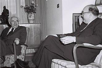 Leonard W. Hall - Leonard W. Hall (right) with Israel's Prime Minister David Ben-Gurion in Jerusalem, 1951
