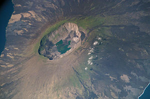 Caldera - Satellite photograph of the summit caldera on Fernandina Island in the Galápagos archipelago.