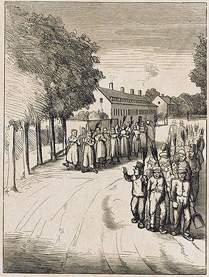 Åboulevard - 1880:Residents of Ladegården with brooms on the way to town to work