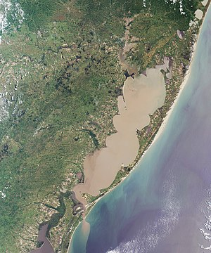 Coastline of Brazil - Satélite view of Lagoa dos Patos, in Rio Grande do Sul, with the Atlantic Ocean to the right.