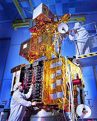 Landsat 7 being prepared for launch.