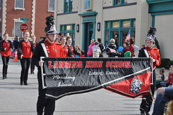 Lansing High School band marching in the 2015 Veterans Day Parade