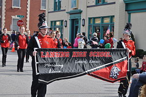 Lansing, Kansas - Lansing High School band marching in the 2015 Veterans Day Parade