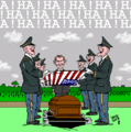 Latuff cartoon about American military personnel laughing over a coffin.png
