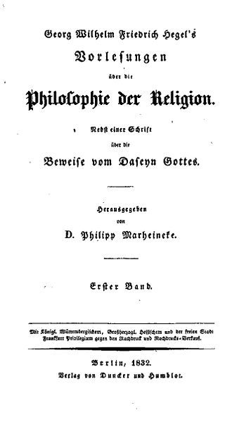 Lectures on the Philosophy of Religion - Title page of the first edition, 1832.