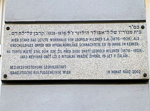 Hilsner Affair - Plaque commemorating Hilsner in Vienna