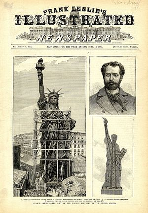 Frédéric Auguste Bartholdi - Front page of Frank Leslie's Illustrated Newspaper, week ending June 13, 1885