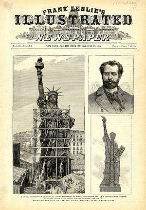 Frédéric Auguste Bartholdi - Front page of Frank Leslie's Illustrated Newspaper, week ending June 13, 1885