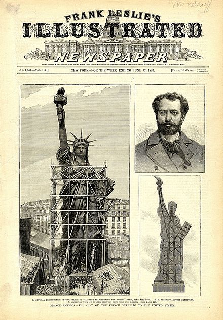 Frank Leslie's Illustrated Newspaper, June 1885, showing (clockwise from left) woodcuts of the completed statue in Paris, Bartholdi, and the statue's interior structure Leslie Liberty.jpg