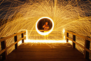 Steel wool - Piece of burning steel wool being spun to produce sparks for light painting