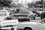 Line at a gas station in Maryland, USA, June 15, 1979.
