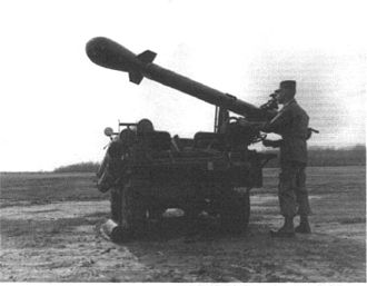 Little Feller (nuclear tests) - Little Feller I. The Davy Crockett weapons system is mounted on a vehicle and prepared for launch.