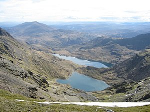Glaslyn - Looking east from Snowdon: Glaslyn at bottom, Llyn Llydaw above
