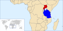 Map of Africa with Tanzania and Uganda highlighted