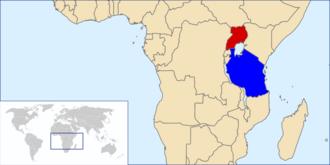 Uganda–Tanzania War - Image: Location Uganda&Tanzania
