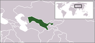 A map showing the location of Uzbekistan