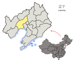 Location of Jinzhou City jurisdiction in Liaoning