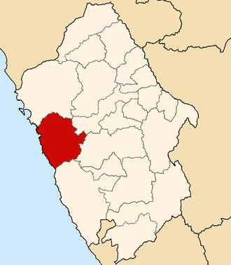 Casma Province - Image: Location of the province Casma in Ancash