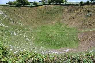 Mines on the first day of the Somme - Lochnagar crater in 2017.