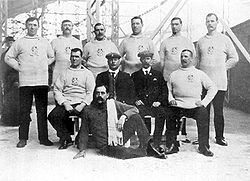 Tug of war team of the City of London Police, winner of the gold medal at the 1908 Summer Olympics
