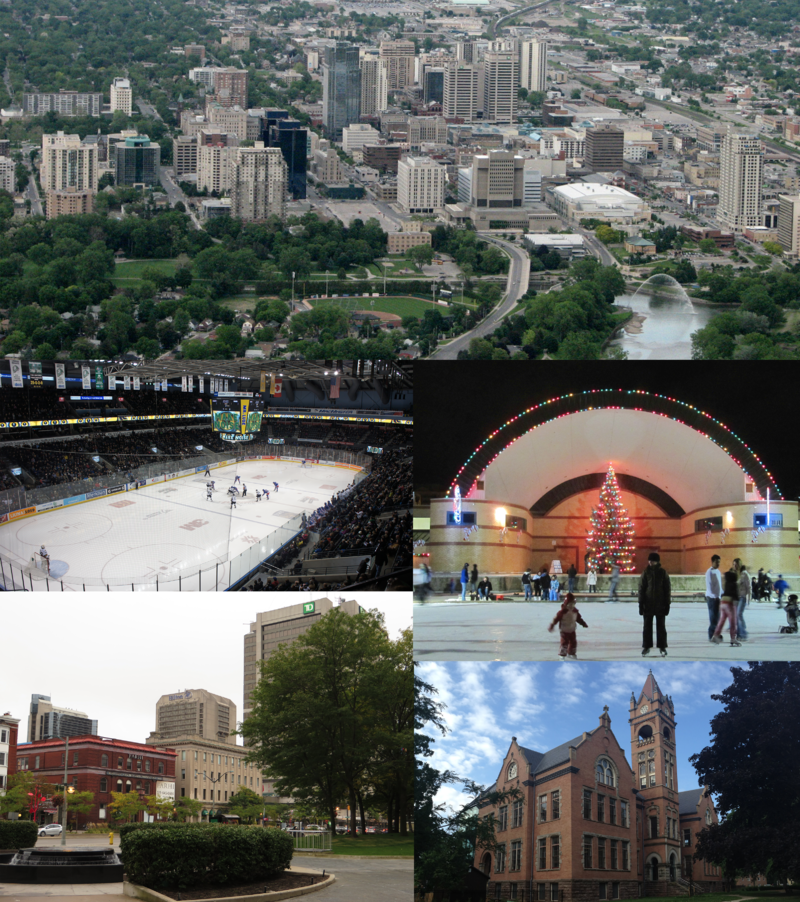 Clockwise from top: London skyline as of 2009, Victoria Park, London Normal School, Financial District, Budweiser Gardens