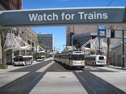 The Metro Blue Line arrives at the Downtown Long Beach Station (known as the Transit Mall Station until July 2013). Long Beach Transit Gallery (formerly the Long Beach Transit Mall).jpg