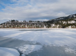 Looking across frozen Kalamalka Lake from Kaloya Regional Park