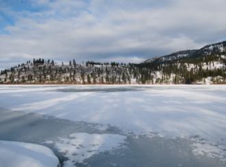 Oyama, British Columbia - Looking across frozen Kalamalka Lake from Kaloya Regional Park