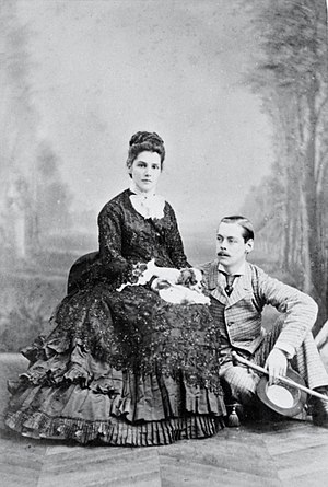 Winston Churchill - Lord Randolph Churchill and Lady Randolph Churchill (Jennie Jerome) in Paris (1874) by Georges Penabert.