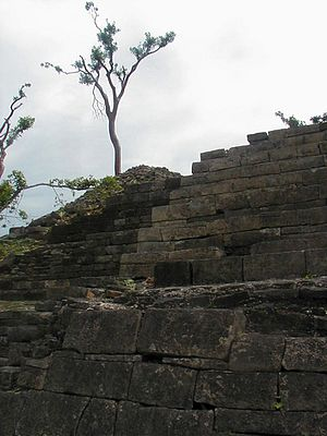 Lubaantun - Structures are mostly built of large stone blocks laid with no mortar.
