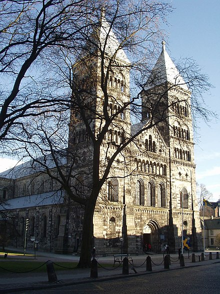 Henry was also venerated in the Cathedral of Lund. Lunds domkyrka.jpg