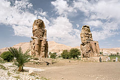 Luxor, West Bank, Colossi of Memnon, morning, Egypt, Oct 2004.jpg
