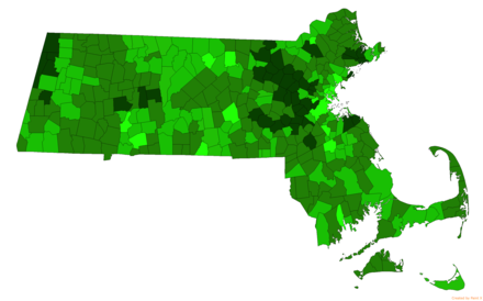 Towns in Massachusetts by combined mean SAT of their public high school district for the 2015–2016 academic year. MA Public High School District SAT by town.png