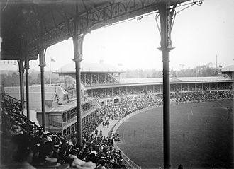 Melbourne Cricket Ground - MCG, ca. 1914. The 1881 members' stand is the smaller building on the left.
