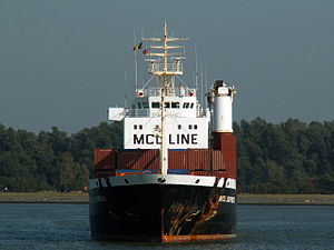 MCL Express bow view, waiting for the locks at Port of Antwerp 11-Oct-2005.jpg