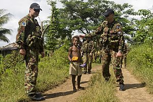 Regional Assistance Mission to Solomon Islands - New Zealand soldiers patrolling in 2009