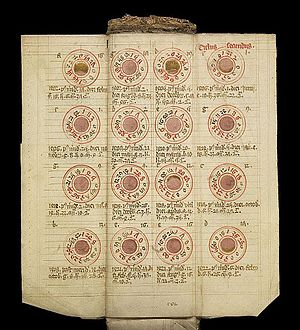 Almanac - Image: MS. 8932. Medieval folding almanac (15th century) Wellcome L0075681