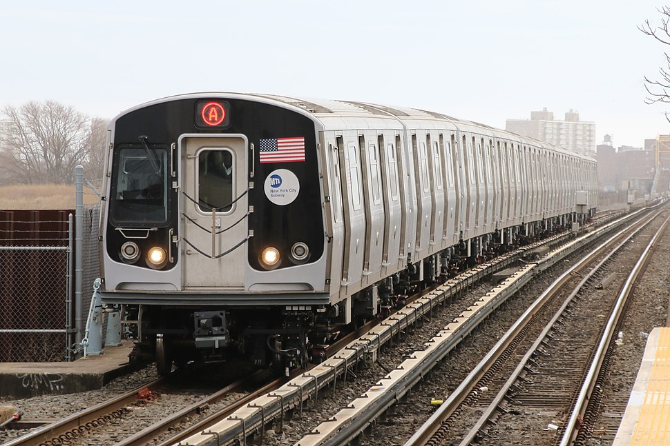 MTA NYC Subway A train arriving at Broad Channel