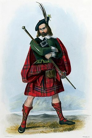 "Clan Maclean - ""Mac Lean"" illustration by R. R. McIan, from James Logan's The Clans of the Scottish Highlands, 1845"