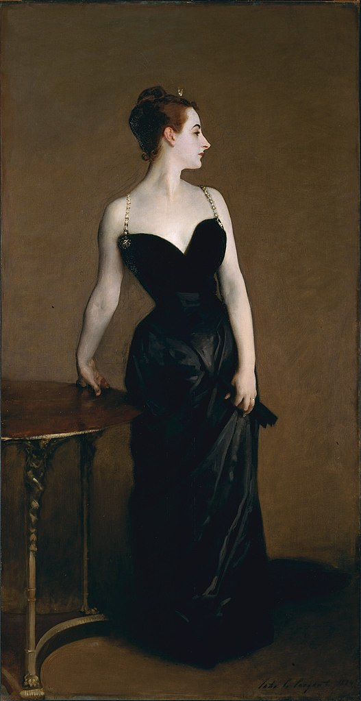 Portrait of Madame X, by John Singer Sargent. A portrait painting by John Singer Sargent of a young socialite named Virginie Amélie Avegno Gautreau, wife of the French banker Pierre Gautreau. Lots of scandal...