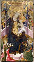 Madonna and Child Enthroned Surrounded by Angels