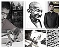 Mahatma Gandhi's portrait with iron nail by Wajid Khan.jpg