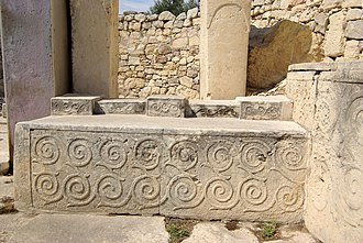 31st century BC - Spiral design altar block from the Tarxien Temples of Malta, uncovered by Sir Themistocles Zammit