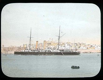 Crown Colony of Malta - British warship in the Grand Harbour in 1896