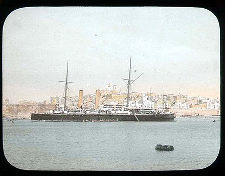 British warship in the Grand Harbour in 1896 Man of War ship outside Malta (3948071717).jpg