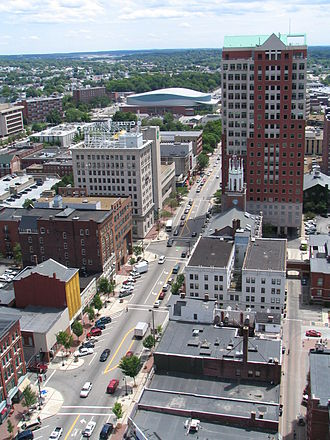 Manchester, New Hampshire - Downtown Manchester looking south along Elm Street