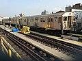 Manhattan bound R32 Z skip-stop train leaving Marcy Av.jpg