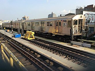 J/Z (New York City Subway service) - Image: Manhattan bound R32 Z skip stop train leaving Marcy Av