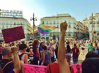 Pink capitalism - Critical Pride 2015 (Orgullo Crítico 2015) arriving at Puerta del Sol (Madrid).